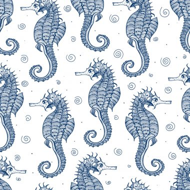Seamless background with sea-horses.