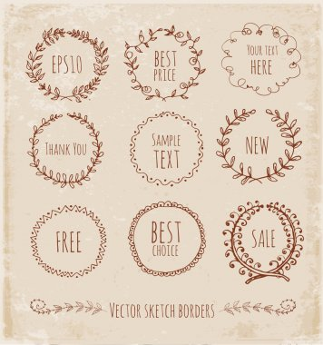Sketch frames, hand-drawn in vintage style