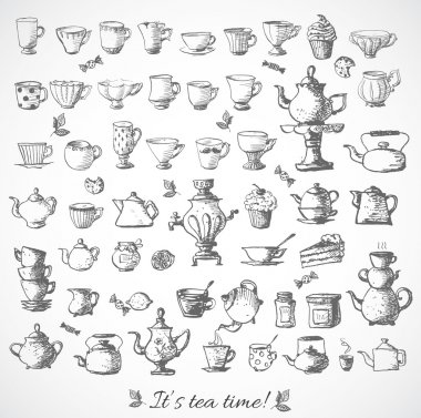Sketches of vintage cups and tea pots.