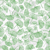 Green floral seamless background with ginkgo leaves.