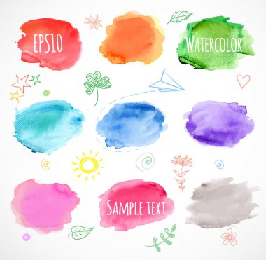 Set of nine colored watercolor backgrounds.