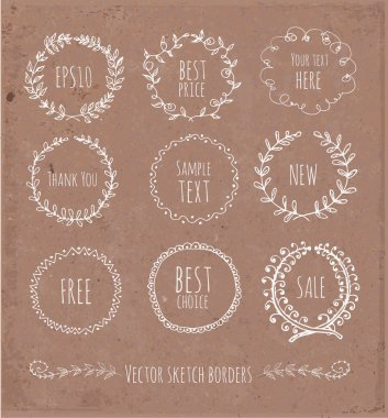 Circle floral borders. Sketch frames, hand-drawn on brown paper.