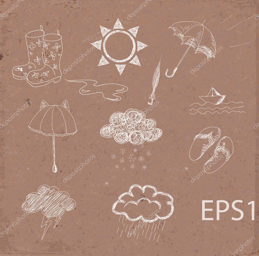 Weather icons set. Hand drawn sketch illustration on brown paper.