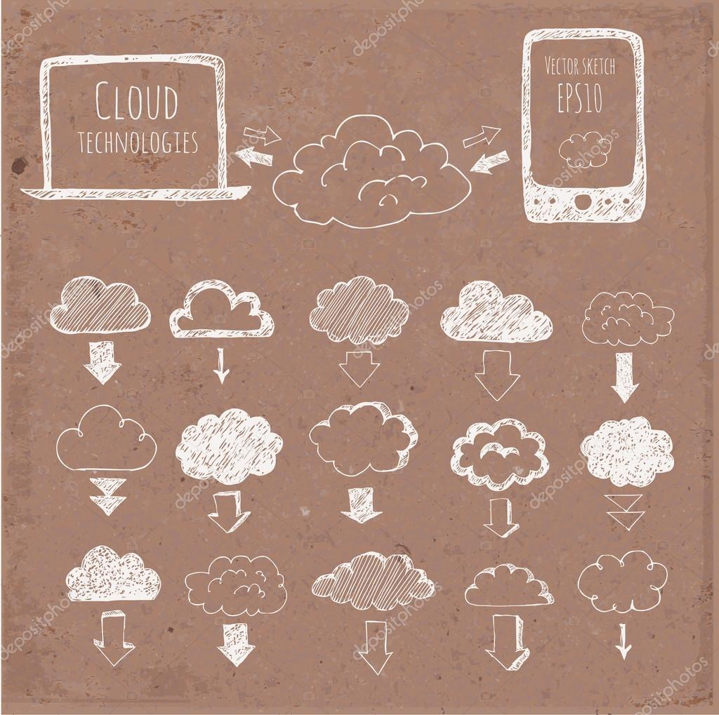 Cloud computing sketch. Icons of clouds, phone, laptop and arrows.