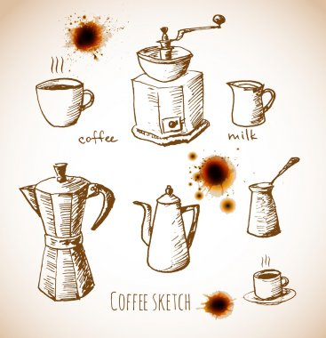 Set of coffee elements in vintage style