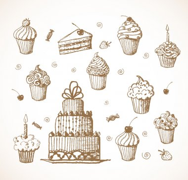 Sketches of cakes and cupcakes