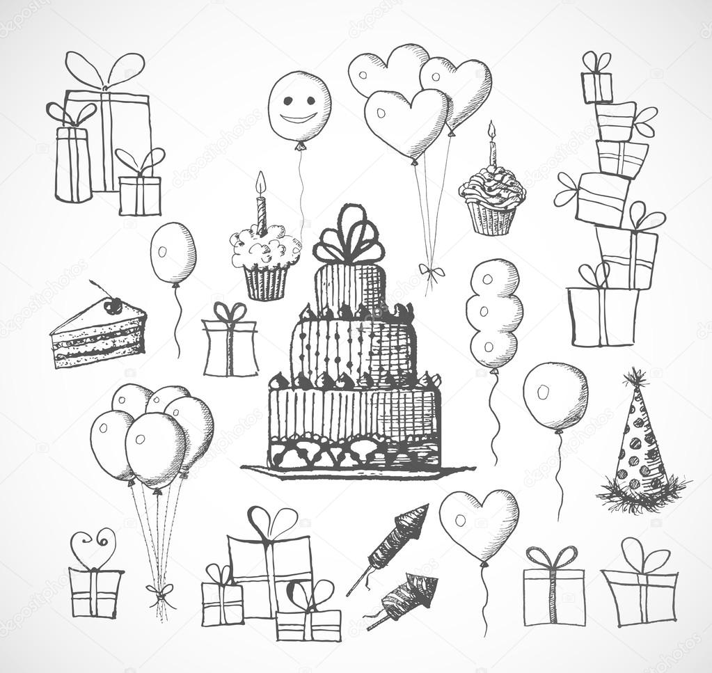 Birthday sketch objects