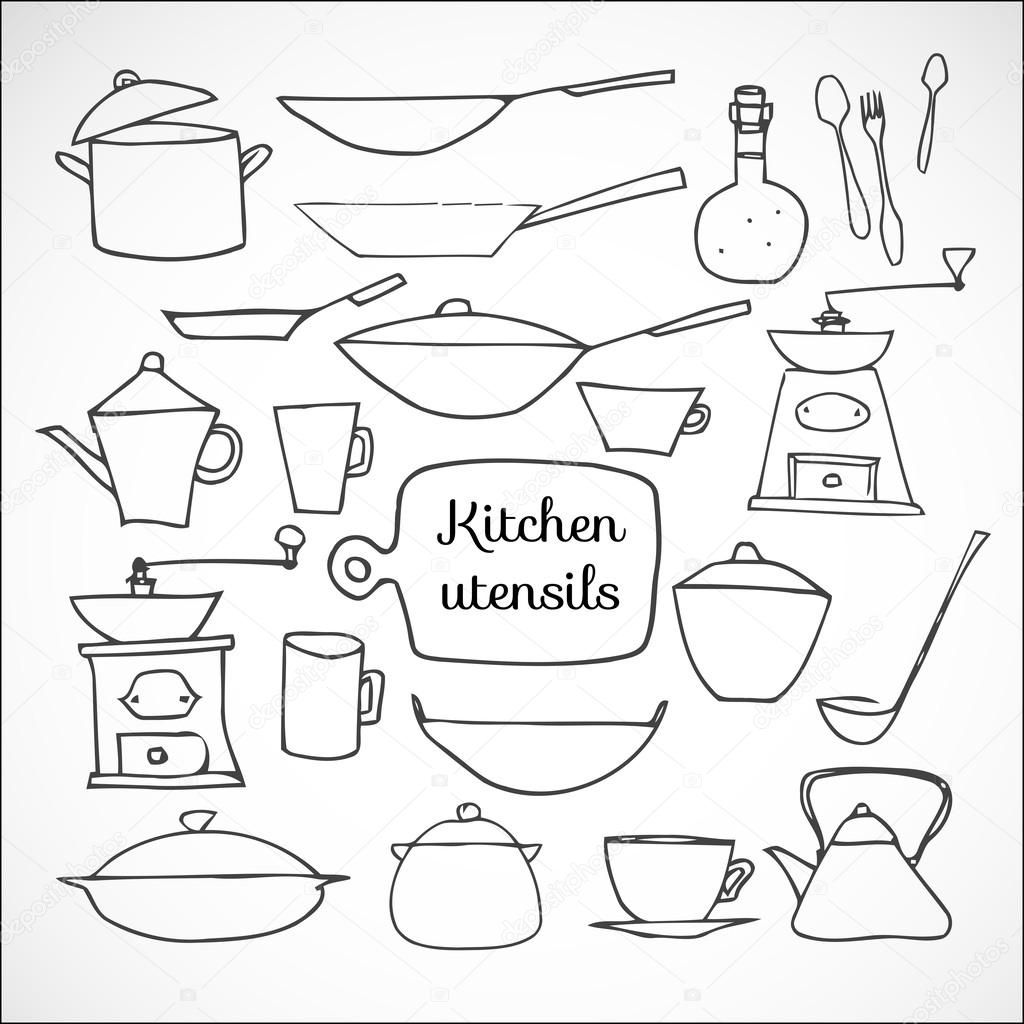 Kitchen tools drawing - Kitchen Tools Sketches Stock Vector 39692443