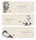 Fényképek bannerek, bambusz, a hegyek és a madár
