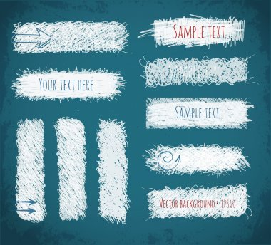 Set of hand-drawn doodle chalk banners