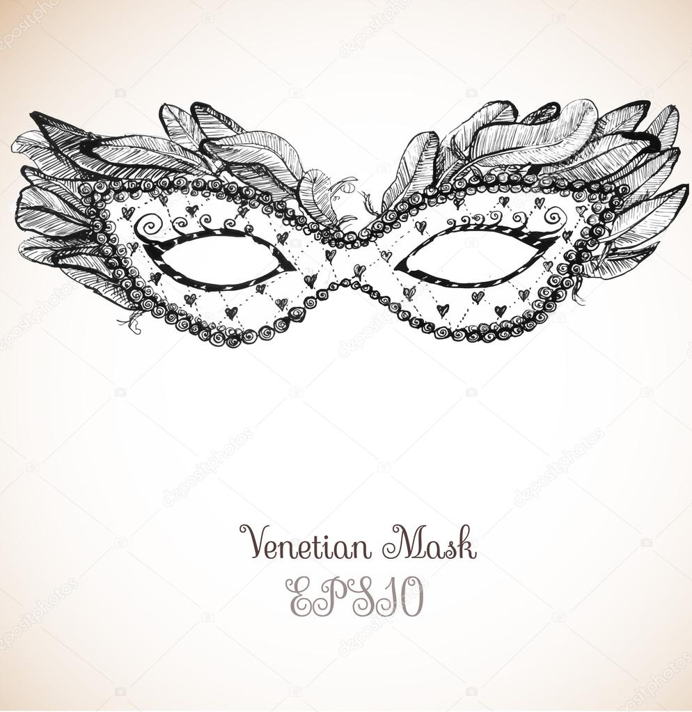 Vintage card with festive venetian mask.