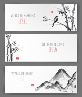 Banners with bamboo, mountains and bird
