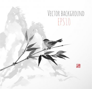 Card with bamboo and bird