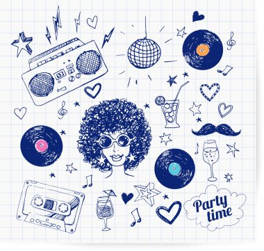 Sketch 80s party objects