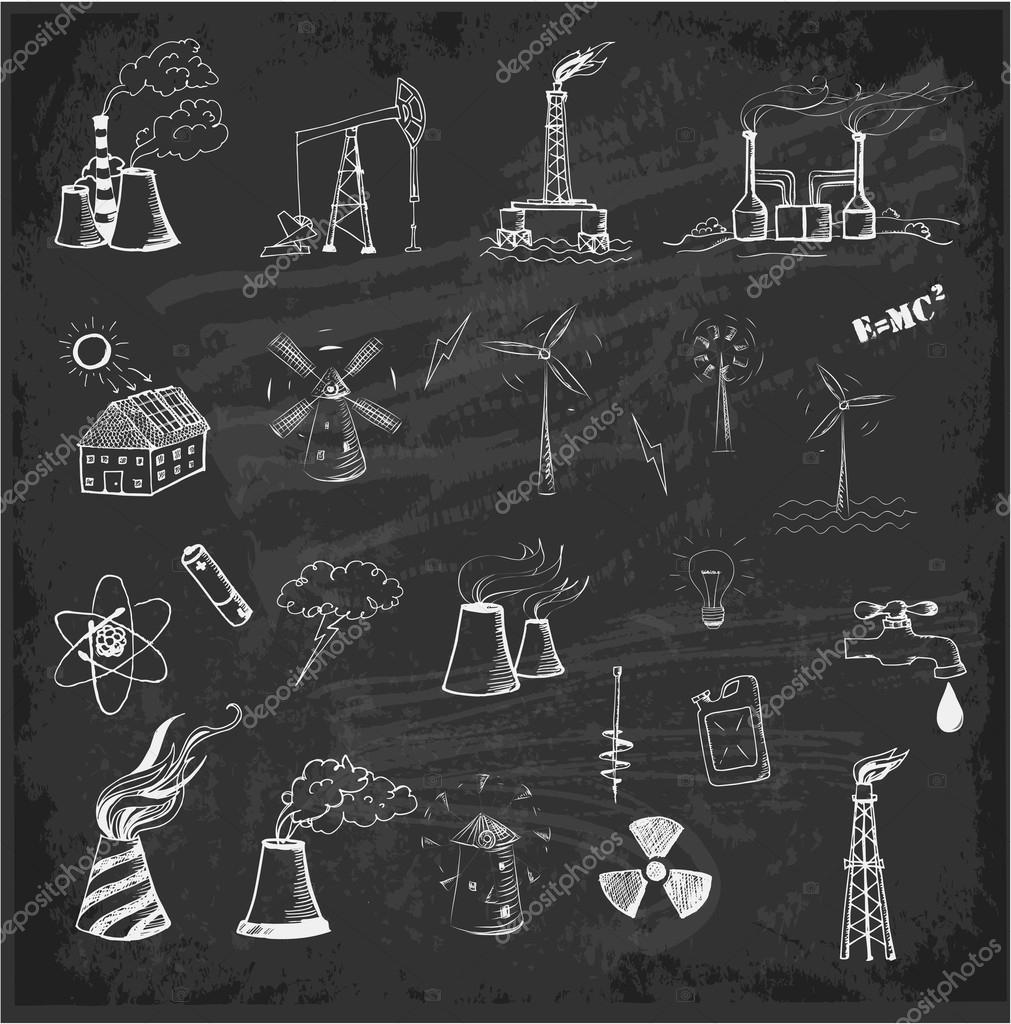 Skizzen von Energiequellen — Stockvektor © Elinacious #43771517