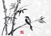 Fényképek kártya bambusz és madár