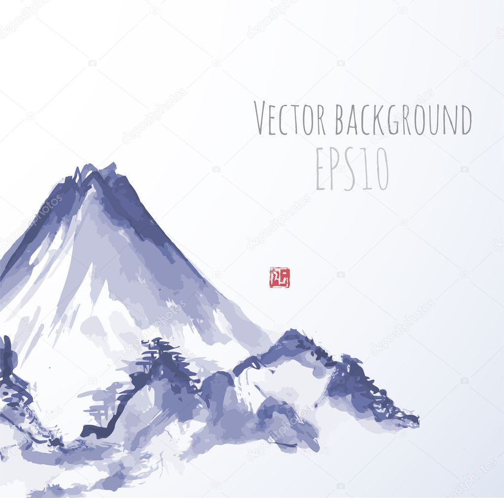 Mountains, hand-drawn with ink