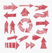 frecce schizzo penna rossa