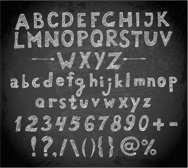 Doodle sketch font on blackboard