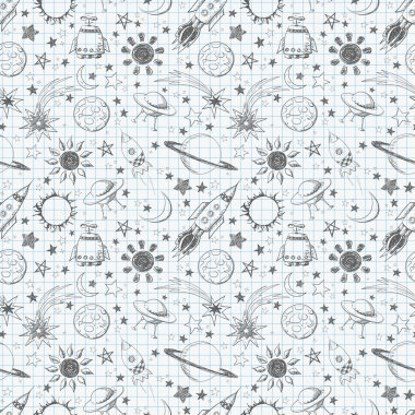 Seamless space pattern. Can be used for wallpaper, pattern fills, textile, web page background, surface textures. clip art vector