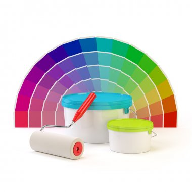 Pantone color palette, paint roller and cans of paint