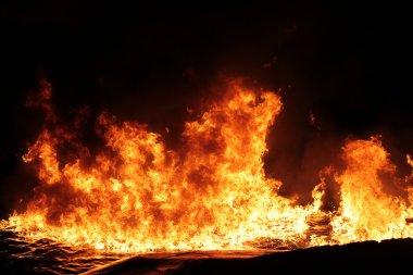 Big fire on the dark background