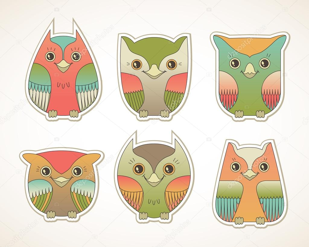 colorful owls u2014 stock vector mistery 29543391