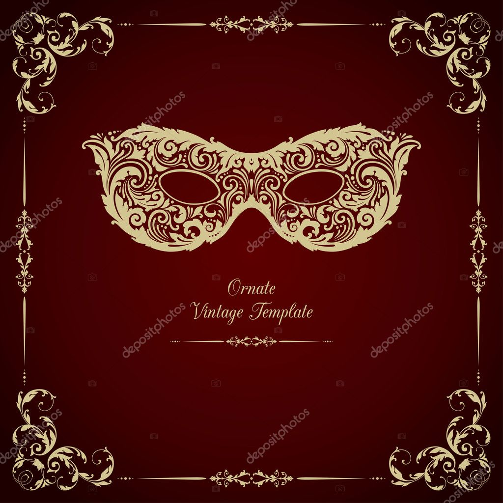 Vintage template with ornament and mask