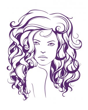 Graphic girl with long wavy hair