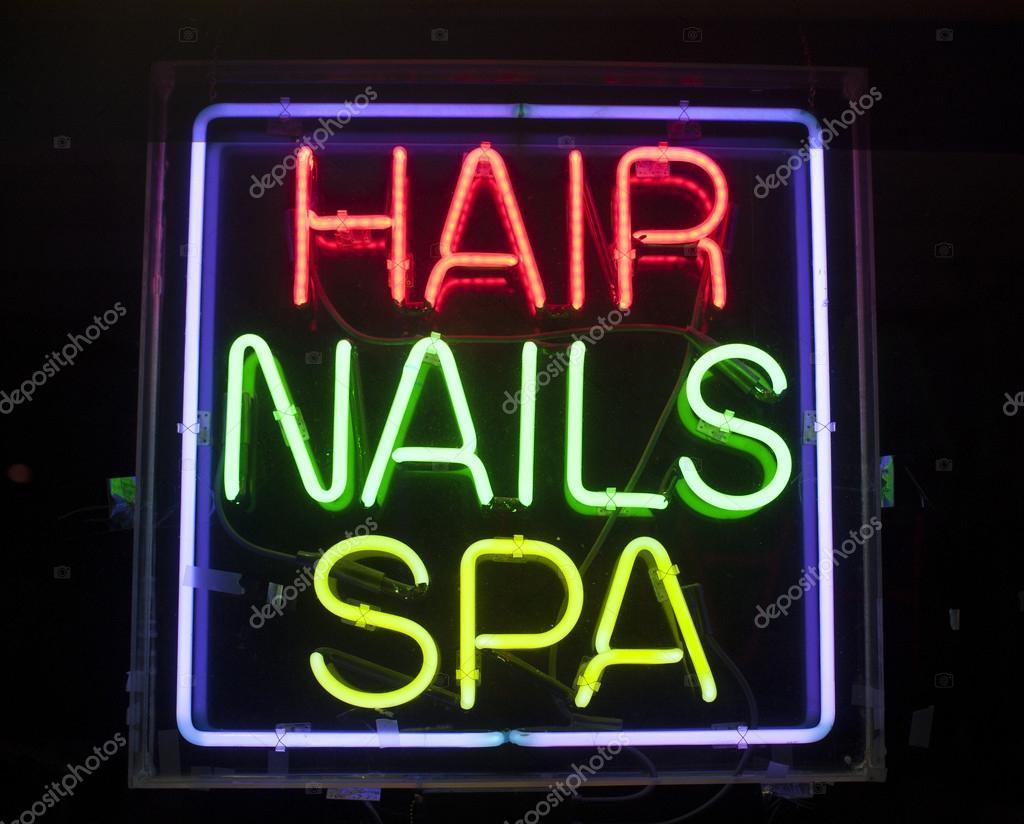 cabello, uñas y spa de neón — Foto de stock © gabriel11 #25029037