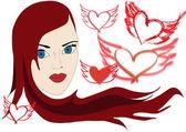 Mädchen mit Herzen und Rockflügeln