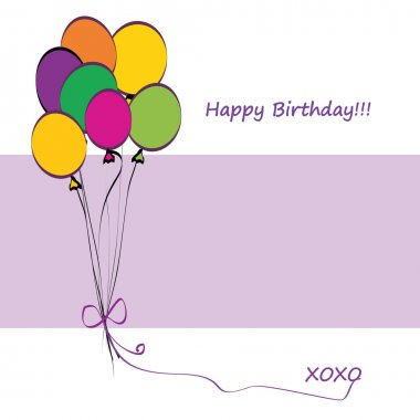 Happy Birthday Card with Balloons and Copy Space