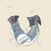 Canvas Shoes Illustration. Drawn Design of a Sneakers