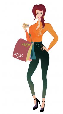 Fashion Woman with Golden Credit Card and Bags