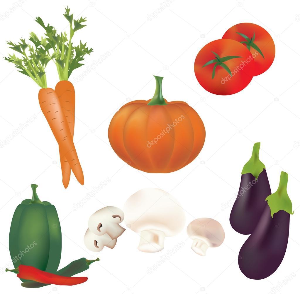 3D Set of Vector Vegetables. Illustration Collection