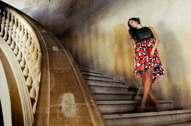 Fashion model with designer dress at the Charles V Palace's stai