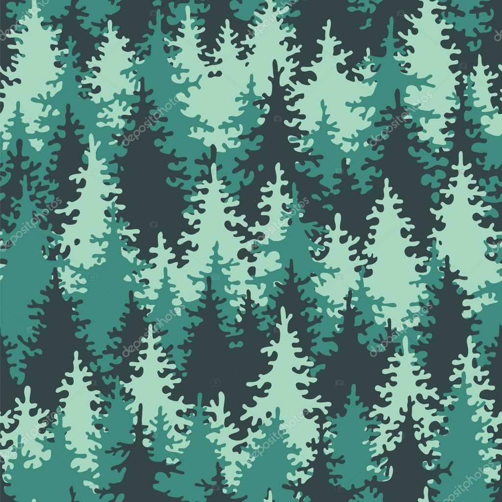 Seamless pattern coniferous forest.