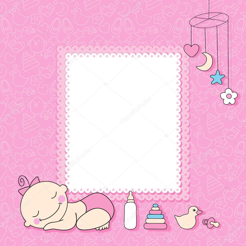 baby girl announcement card stock vector baksiabat 22082019