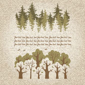 Fotografie Illustration of green coniferous and deciduous forest with a pl