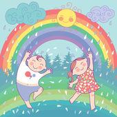Fotografie Illustration mit glücklichen Kindern, Regenbogen, Regen, Sonne
