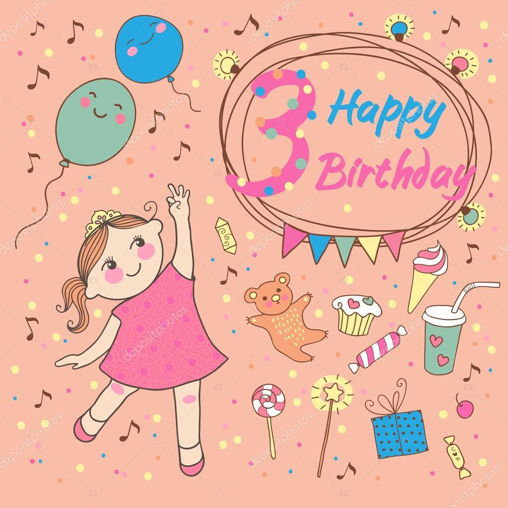 Verjaardag Van Het Meisje 3 Jaar Wenskaart Of Uitnodiging