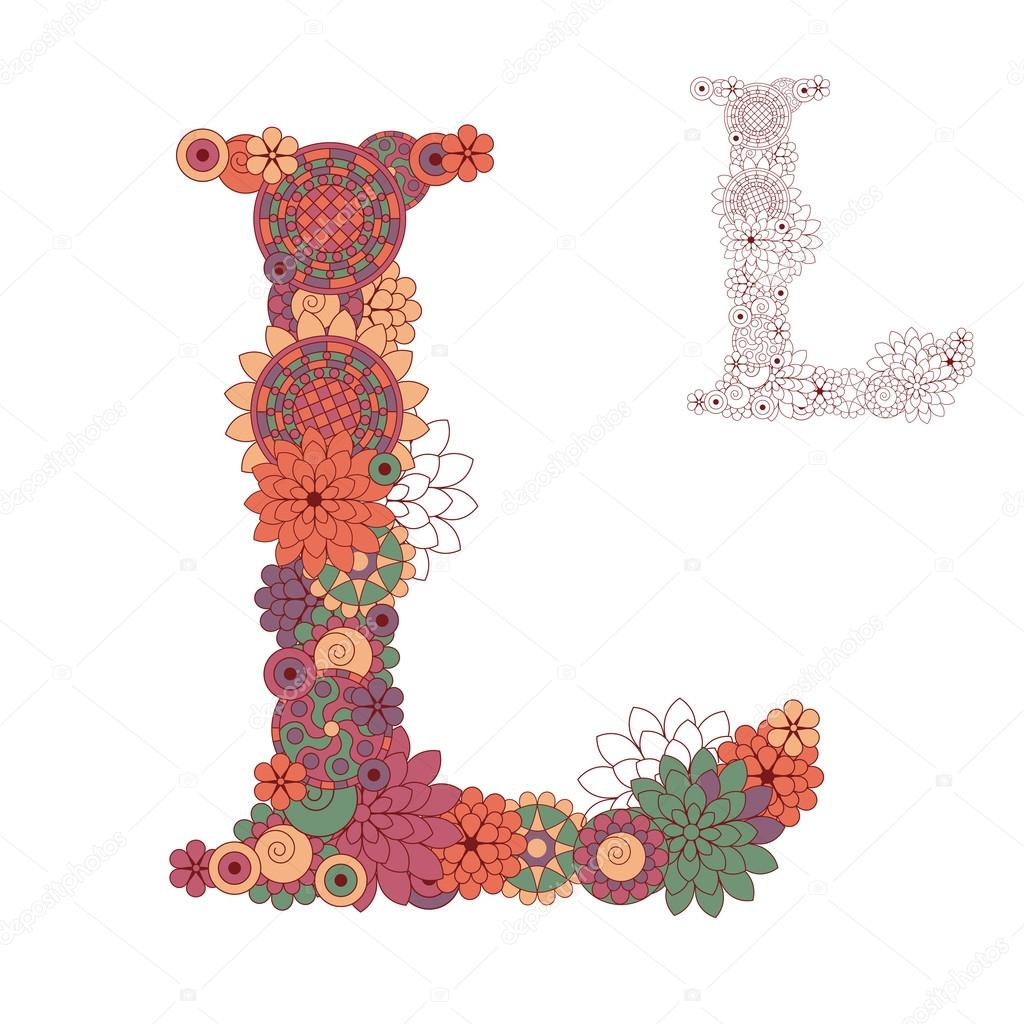 Vector illustration on the letter L from abstract decorative flo