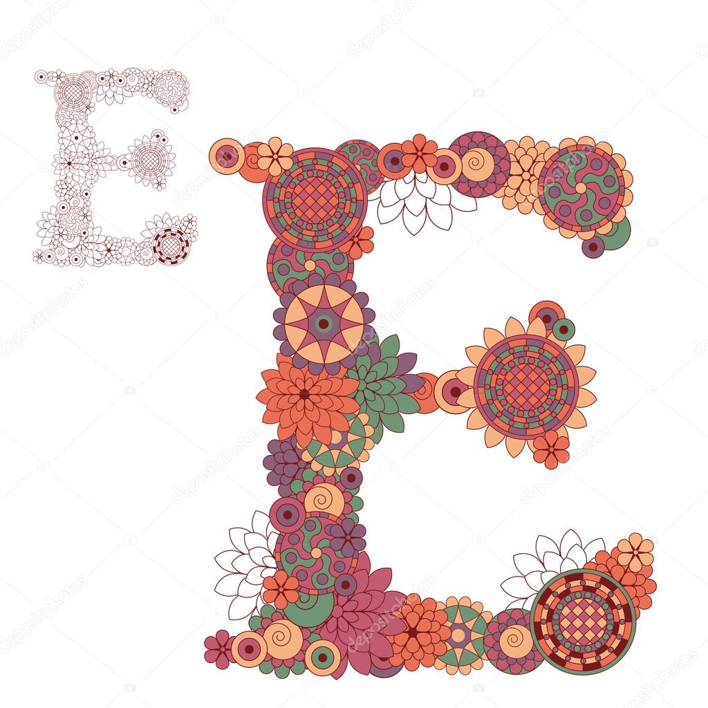 Vector illustration on the letter E from abstract decorative flo