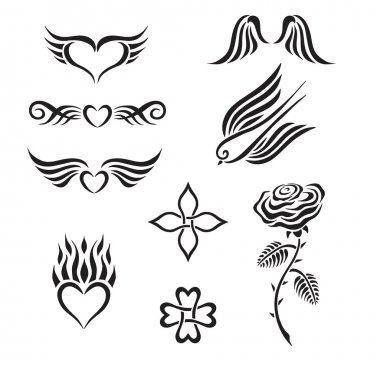 Set of tribal tattoo including hearts, rose, swallow, wings