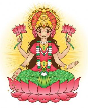Goddess Lakshmi - brings wealth and prosperity. Vector illustration. stock vector