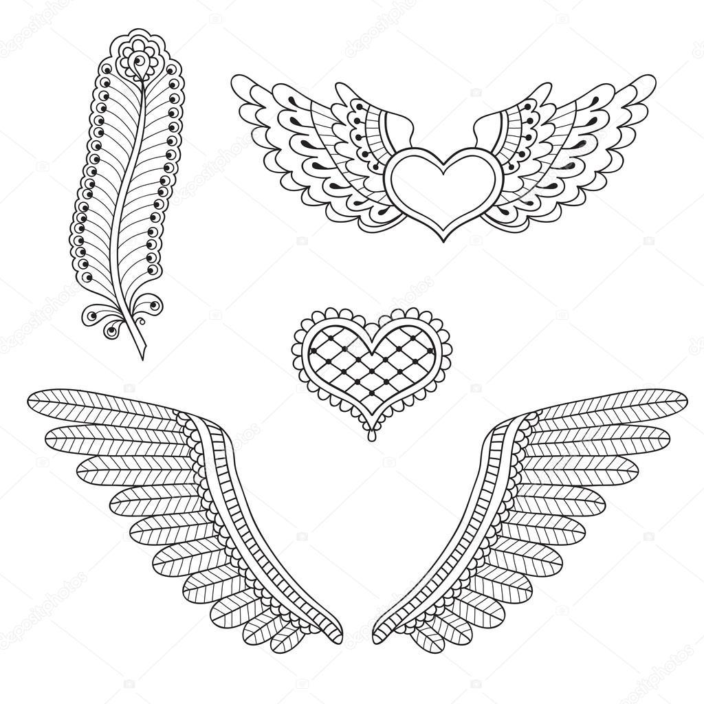 Set Tattoo Herzen, Flügel, Feder — Stockvektor © Baksiabat #27687627