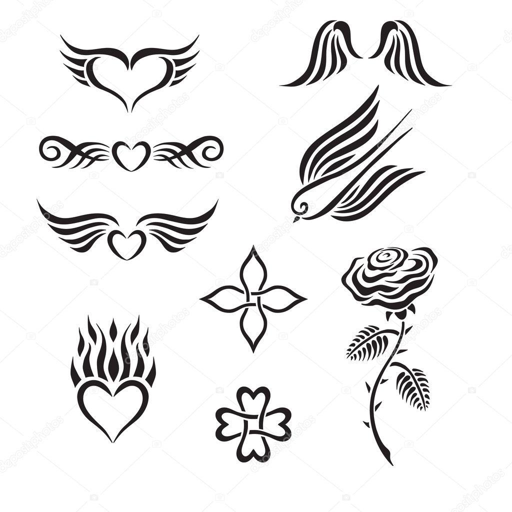 Vector Corazones Tribales Set De Tatuajes Tribales Incluyendo