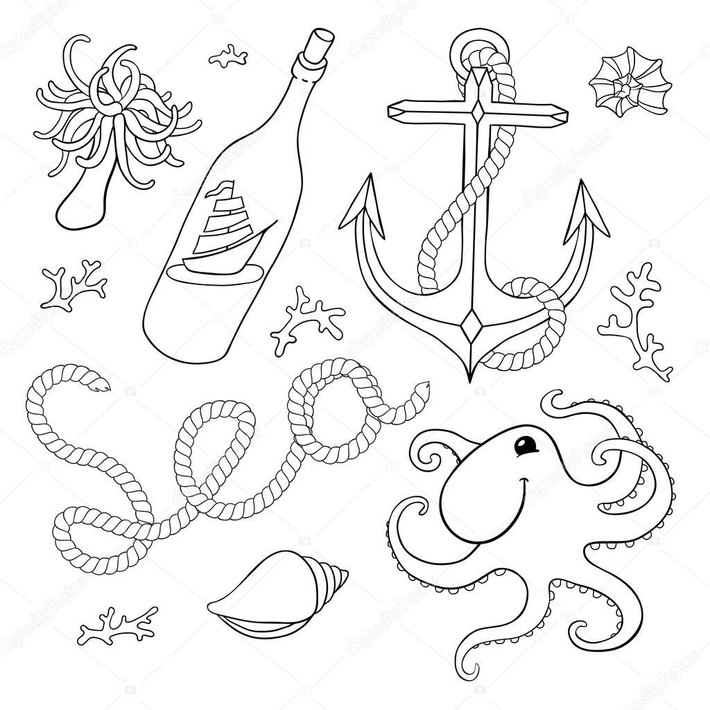 Dibujos Anclas Para Colorear E Imprimir Un Conjunto De
