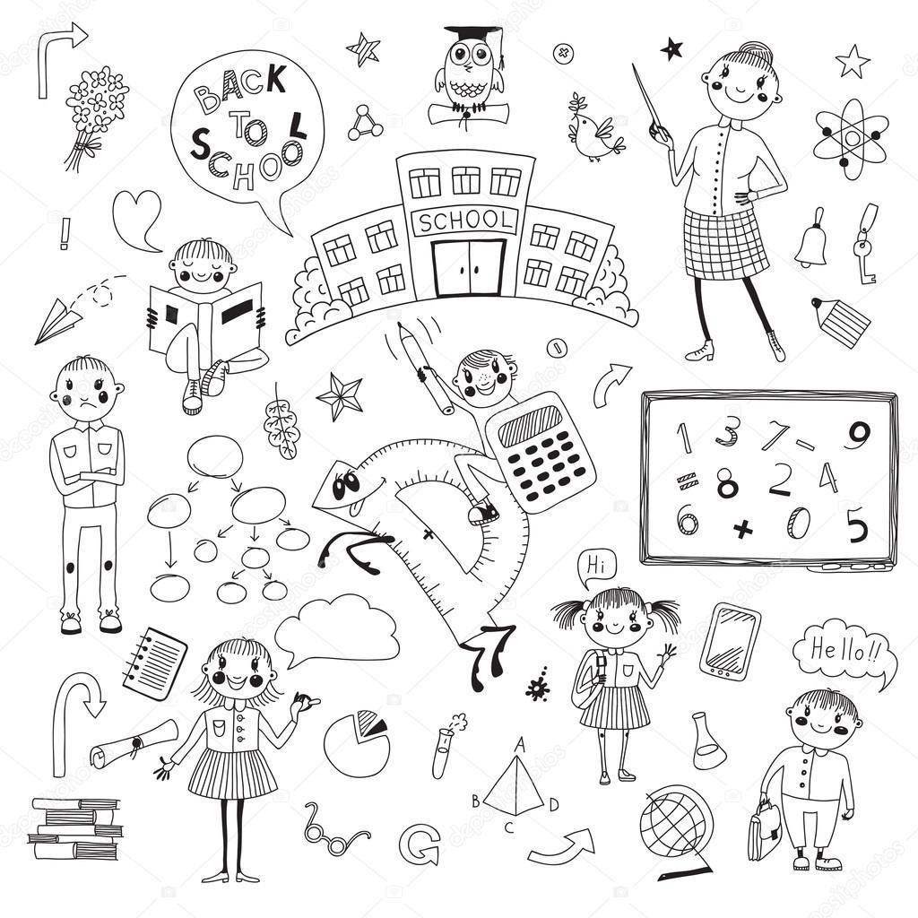 картинки дети в школе рисованные