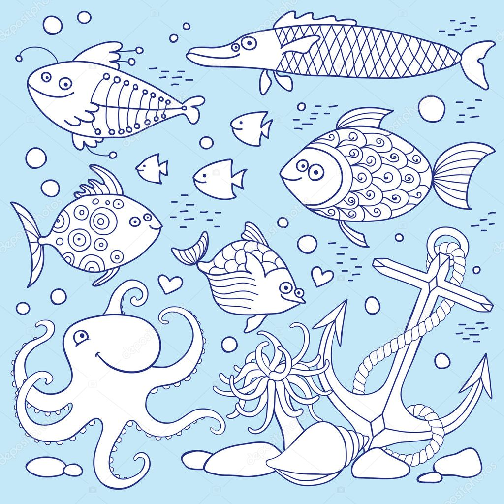 Illustration of underwater life. A set of elements: fish, anchor